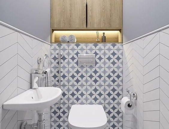 moderne design toilet inspiratie, voorbeelden en ideeën met toilet tegels, spiegels en wasbakken 2