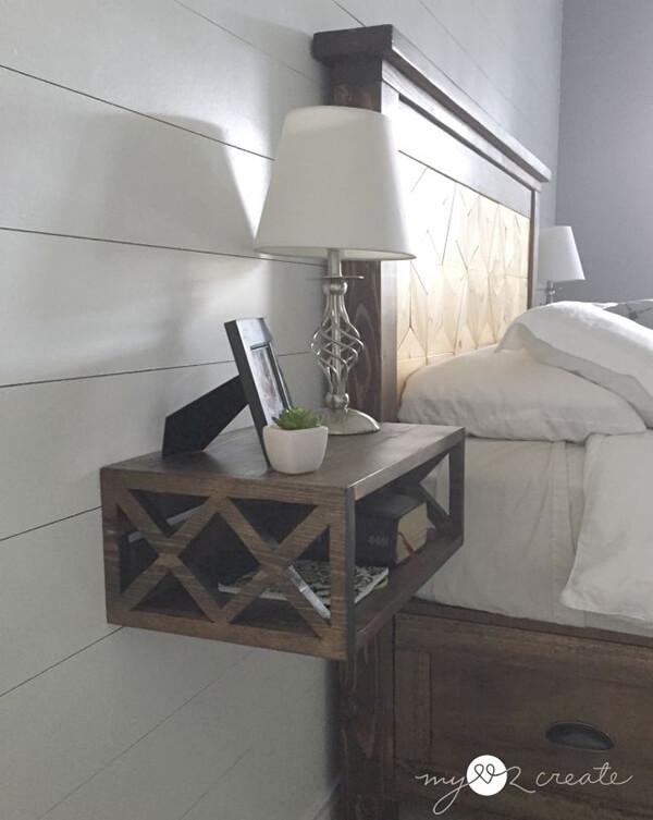 landelijk zwevend nachtkast ideeën en voorbeelden van een cubus aan de muur