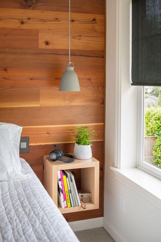 modern zwevend nachtkast ideeën en voorbeelden van een cubus aan de muur