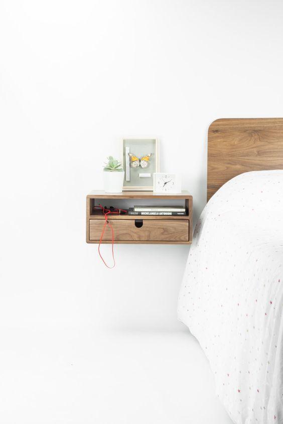 Scandinavisch zwevend nachtkast ideeën en voorbeelden van een nachtkast met lade