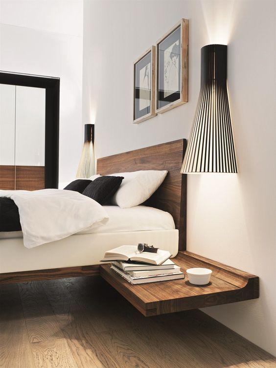 modern zwevend nachtkast ideeën en voorbeelden van wandplanken