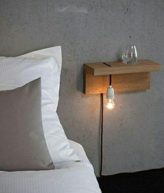 Scandinavisch zwevend nachtkast ideeën en voorbeelden van wandplanken